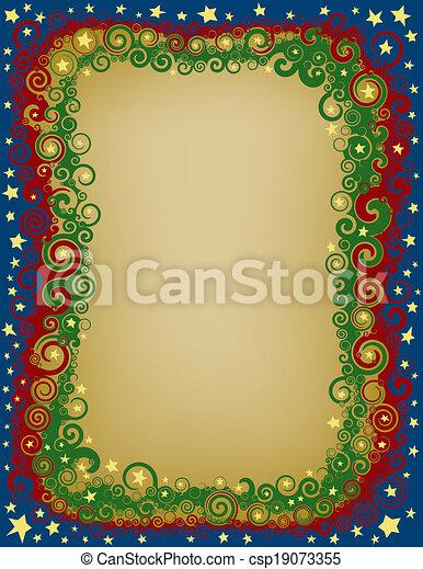 Swirly Christmas Eve Border - csp19073355