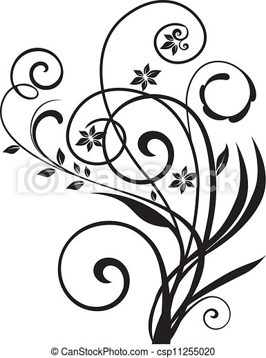 Swirly floral design vector  - csp11255020