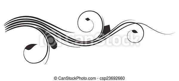 swirly foliage design. abstract swirl retro flourish vector element design.  | canstock  can stock photo