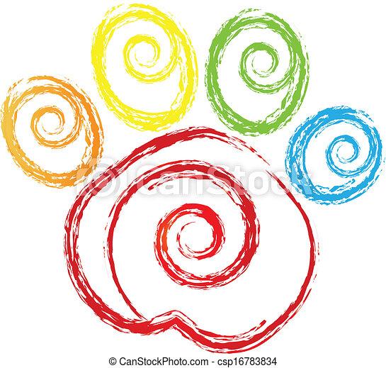 swirly, hjerte, tryk, logo, pote - csp16783834