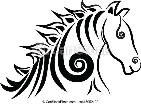 Swirly Horse logo vector - csp15952192