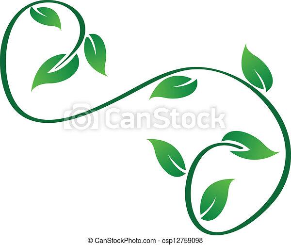 swirly, logotipo, folhas, verde - csp12759098
