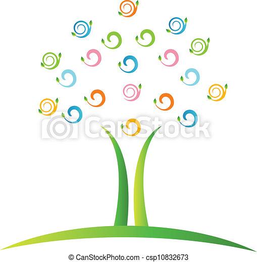swirly, logotipo, vettore, albero, mette foglie - csp10832673
