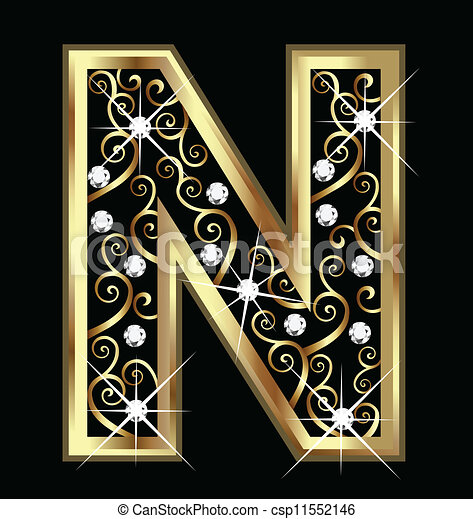 n letter in gold on quotesfab swirly ornamenti oro lettera n lettera oro swirly n 889