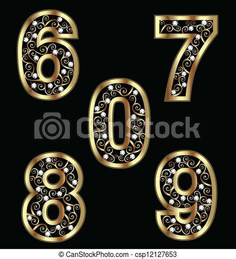 Números de oro con adornos arremolinados - csp12127653