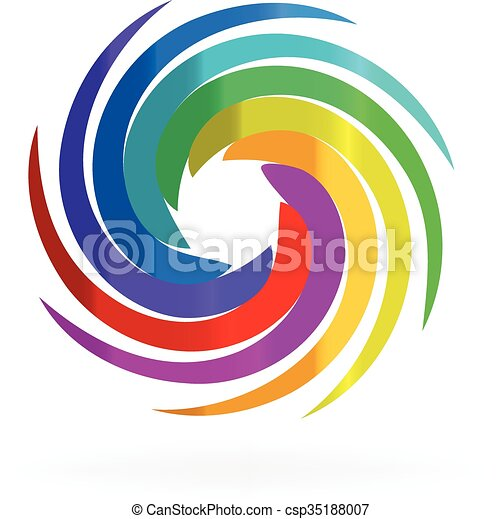 Swirly rainbow waves logo - csp35188007