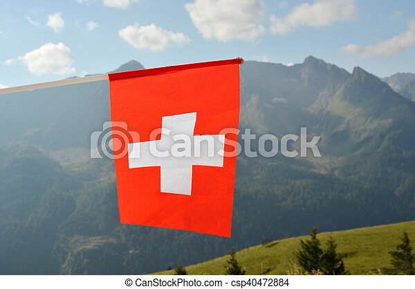 Swiss flag in the wind against sky - csp40472884
