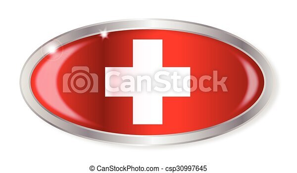 Swiss Flag Oval Button - csp30997645
