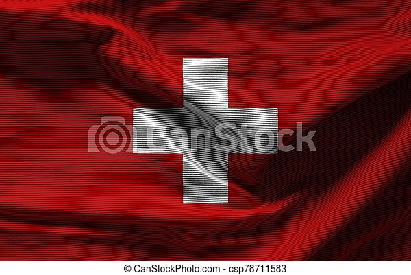 Swiss flag with texture on background - csp78711583