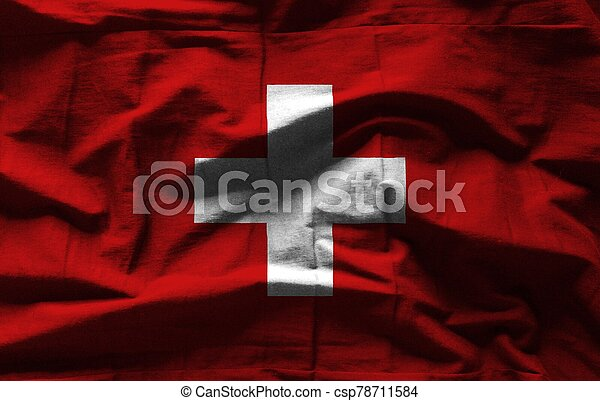 Swiss flag with texture on background - csp78711584