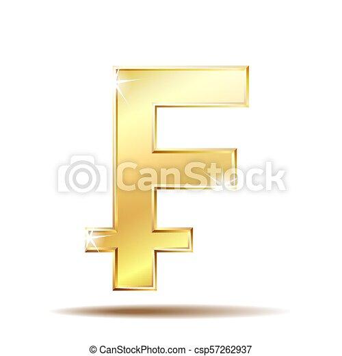 Swiss Franc Shiny Gold Symbol Switzerland Sign Vector Illustration