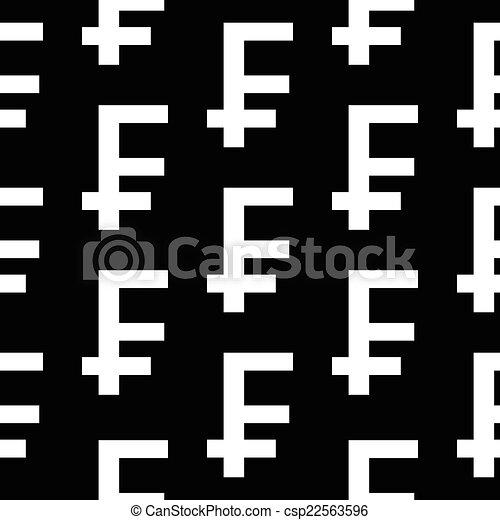 Swiss Franc Symbol Seamless Pattern On Black Background Vector