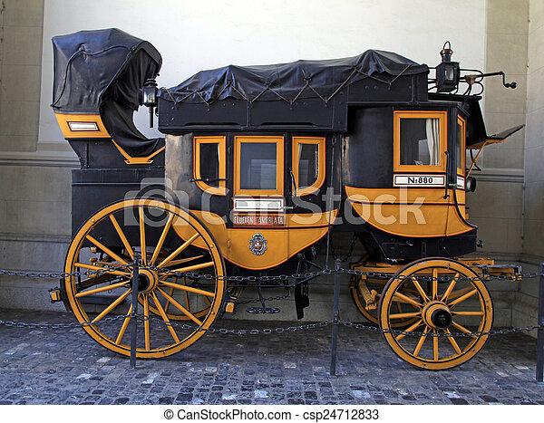 swiss historic carriage in Zurich, Switzerland - csp24712833