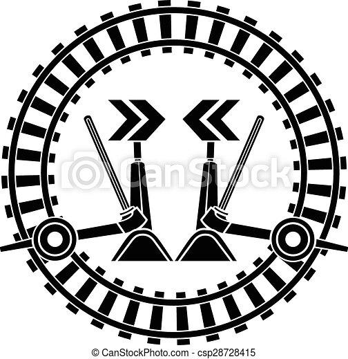 Switch Arrows Railway In Round Frame Stencil