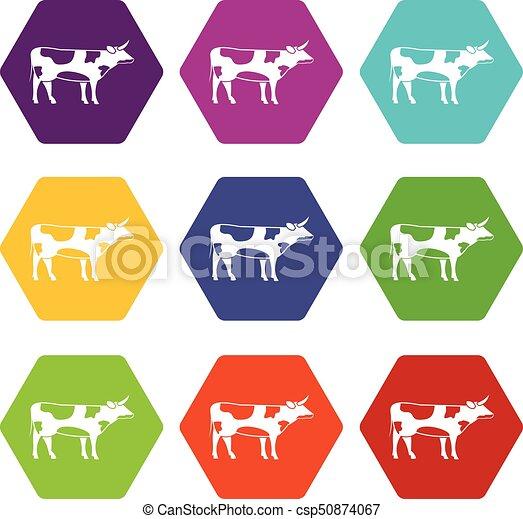 Switzerland cow icon set color hexahedron - csp50874067