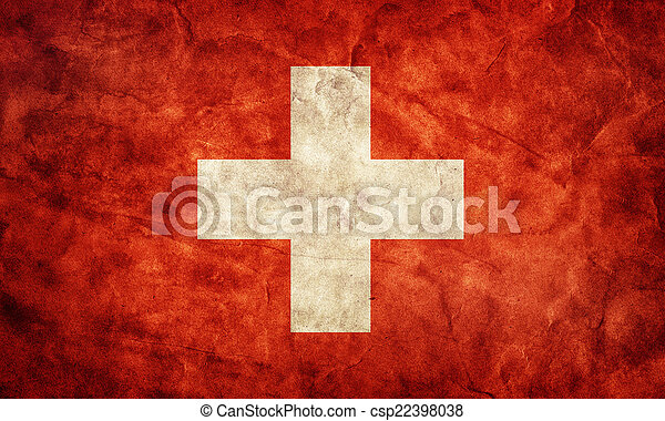 Switzerland grunge flag. Item from my vintage, retro flags collection - csp22398038