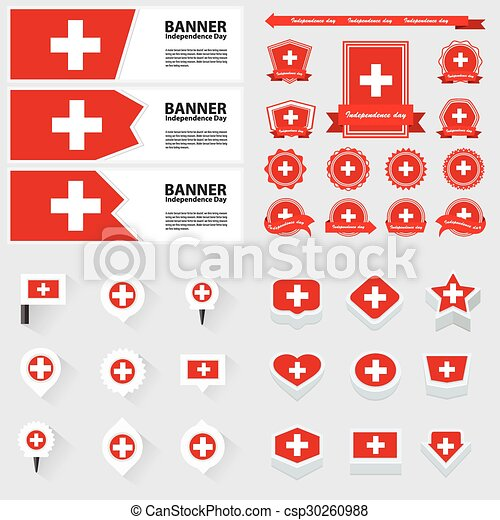 switzerland independence day, infographic, and label Set. - csp30260988