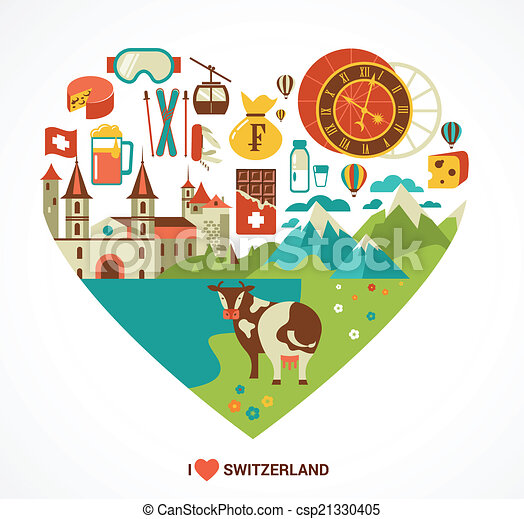 switzerland love heart with vector icons travel and
