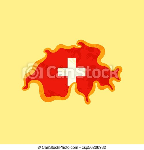 Switzerland - Map colored with Swiss flag - csp56208932