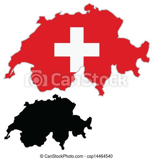 Switzerland map flag - csp14464540