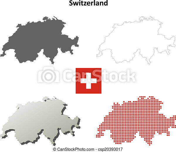 switzerland outline map set vector