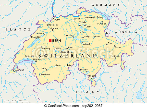 Switzerland political map. Political map of switzerland with capital ...