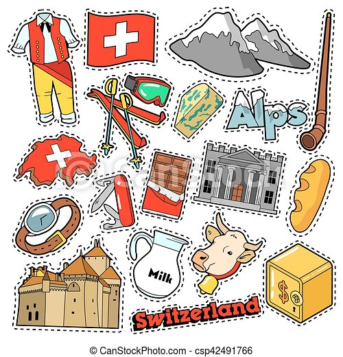 Switzerland Travel Scrapbook Stickers Patches Badges For Prints