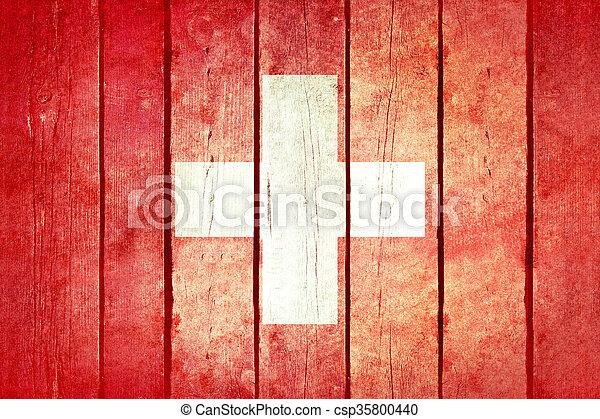 Switzerland wooden grunge flag. - csp35800440