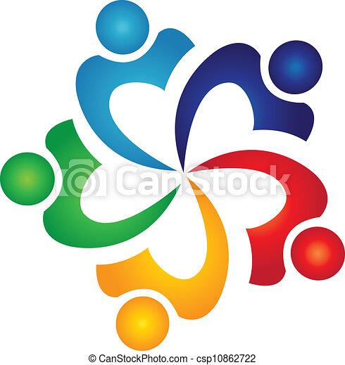 swoosh, ロゴ, ベクトル, チームワーク, 人々 - csp10862722