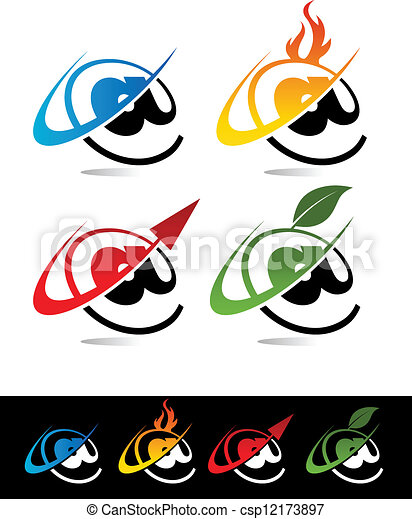swoosh, aroba, icônes - csp12173897