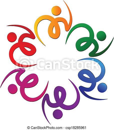 swooshes, 花, チームワーク, ロゴ - csp18285961