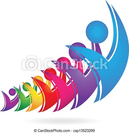 swooshes, csapatmunka, happyfigures, jel - csp13523299