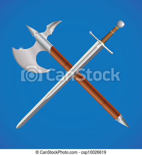 Sword And Axe Crossed. Vector Illustration Of Sword And