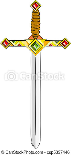 Sword. Ancient gold sword isolated on the white.