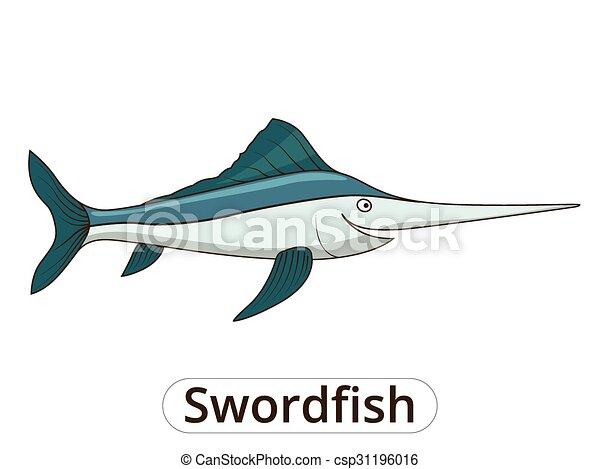 Swordfish underwater animal cartoon illustration - csp31196016