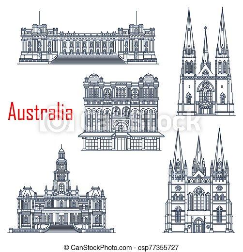Sydney and Melbourne vector landmarks - csp77355727