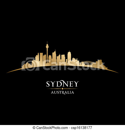 Sydney Australia city skyline silhouette black background - csp16138177