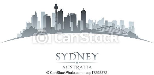 Sydney Australia city skyline silhouette white background  - csp17298872
