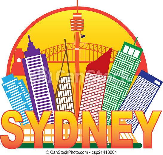 Sydney Australia Skyline Circle Color Illustration - csp21418204