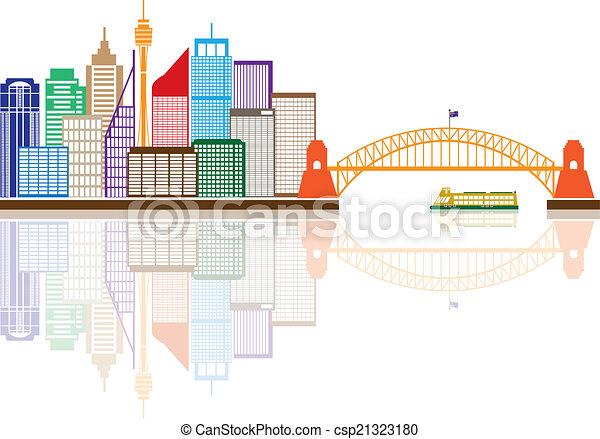 Sydney Australia Skyline Color Illustration - csp21323180