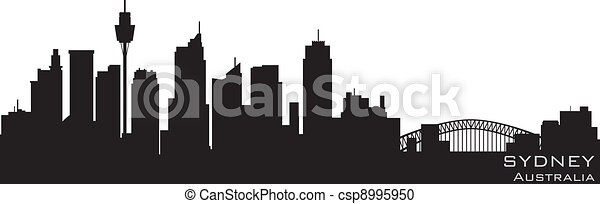 Sydney, Australia skyline. Detailed vector silhouette - csp8995950