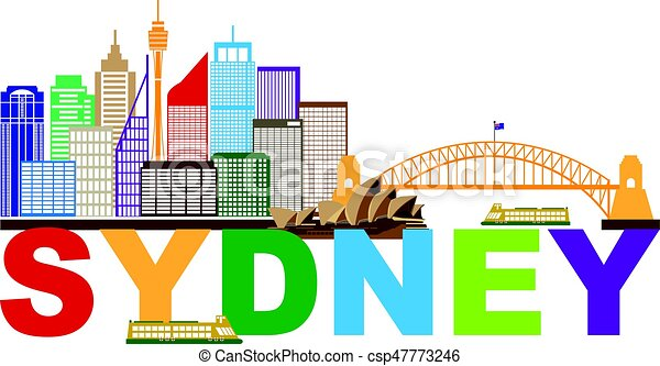 Sydney Australia Skyline Text Colorful Abstract Illustration - csp47773246