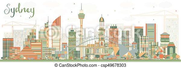 Sydney Australia Skyline with Color Buildings. - csp49678303
