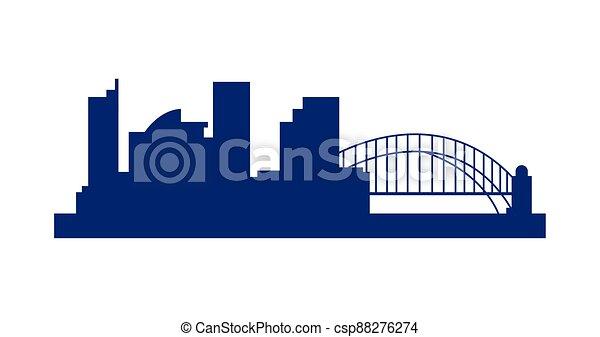 sydney cityscape with bridge silhouette icon - csp88276274