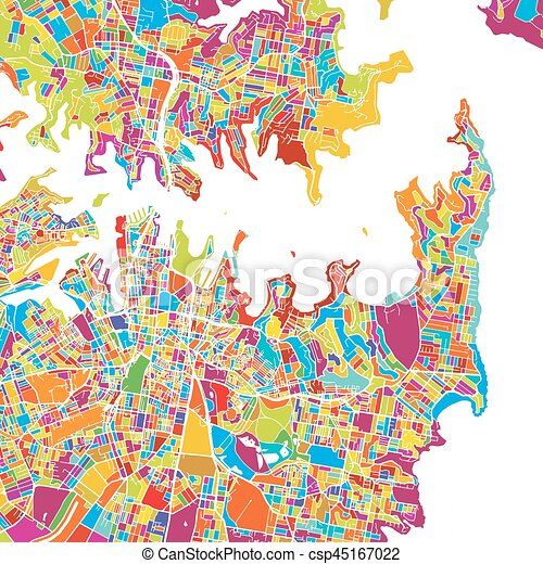 Sydney Colorful Vector Map