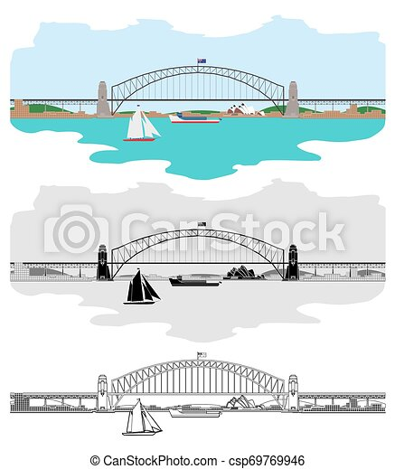 Sydney Harbour Bridge and others Australian symbols - csp69769946