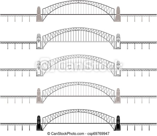 Sydney Harbour Bridge colored and outline only - csp69769947