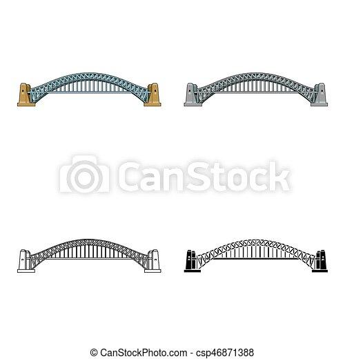 Sydney Harbour Bridge icon in cartoon style isolated on white background. Australia symbol stock vector illustration. - csp46871388