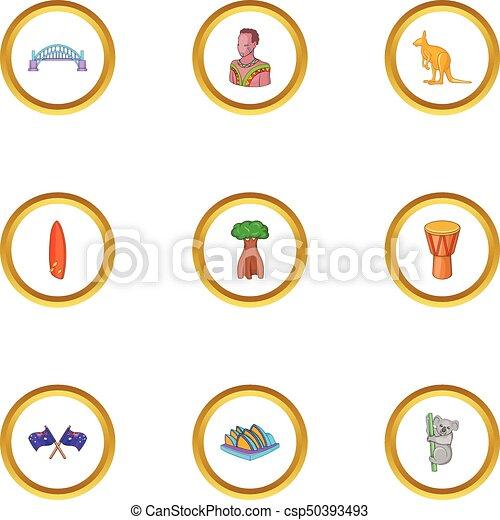 Sydney icons set, cartoon style - csp50393493