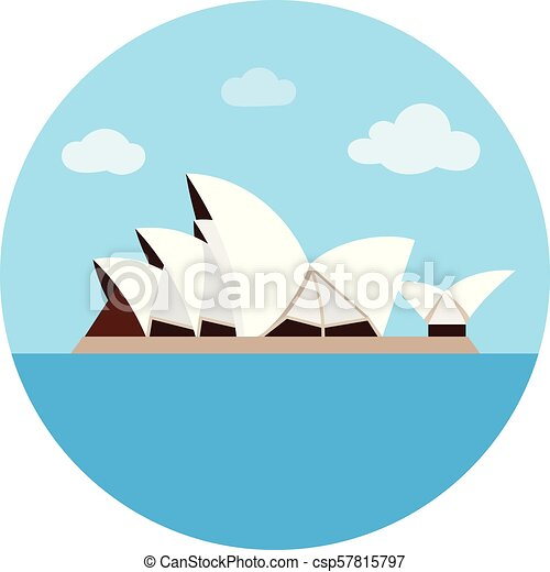 Sydney Opera House icon in cartoon style isolated on white background. Countries symbol stock vector illustration. - csp57815797